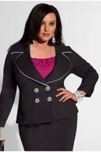 Черный пиджак для полных