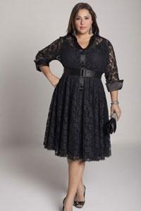 Черное платье на пышную даму