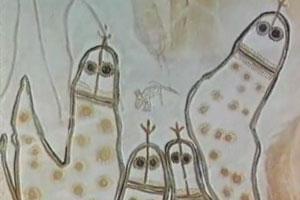 Рисунки пришельцев на стене